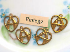#1025B Vintage Love Birds Findings Brass Hearts Charms Blue Bird Drops RARE