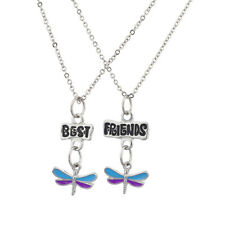 Lux Accessories Silver Tone Enamel Dragonfly BFF Best Friends Necklace Set
