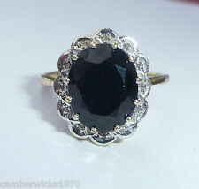 Large 9ct Gold Sapphire & Diamond Ring, Size O, Diana Style