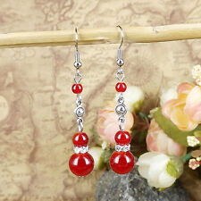 Free Shipping Hot Jewelry Silver Vintage Round Bead Dangle Red Earrings Hook