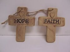 "2 DECORATIVE TERRA COTTA CROSSES ""HOPE"" and ""FAITH"" with HANGING ROPE 5.75"" TALL"
