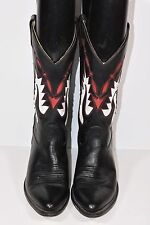 HERITAGE WEST WOMENS 8.5 M BLACK LEATHER ROPERS COWBOY WESTERN BOOTS