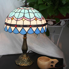 Tiffany Style Stained Glass Handcrafted Mediterranean Table Lamp 12 in Button