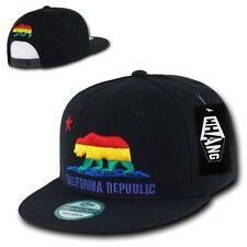 Black Rainbow California Republic Cali Bear Pride Flat Bill Snapback Hat Cap