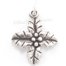 3D HOLLY LEAF Christmas Jewelry berries Charm Pendant 925 Sterling Silver