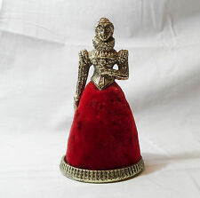 Vintage Tudor Queen Royal Pin Cushion Metal & Red velvet 5""