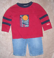 12 month boys red basketball t-shirt by Playskool & Cherokee 5-pocket jeans