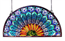 """Beautiful Stained Glass Stunning Peacock Design Window Panel 35"""" Long x 18"""" Tall"""