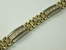 DIAMOND BRACELET SOLID 14 CARAT 2 COLOUR GOLD  26.5 GRAM otee