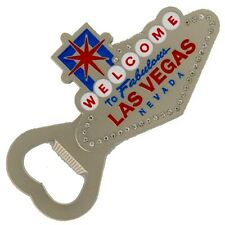 Las Vegas Sign Pewter Rhinestone Magnet Bottle Opener Beer Brewery