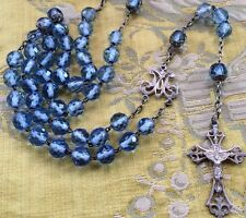 BLUE ROSARY SILVER XIX CRISTAL ARGENT CHAPELET FRANCE FRENCH HALLMARK Photo Text
