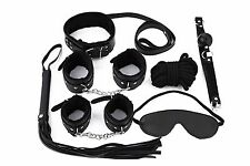 7Pcs Bondage Kit Set Restraint Fetish Hand Ankle cuffs Whip Mouth Gag BDSM Black