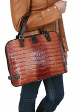 Womens Real Leather Hobo Doctor Handbag TAN Crocodile Top Fashion Dress Bag NEW