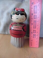 Asian woman geisha hand painted figure cosmetic brush wooden