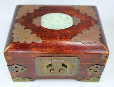 Vintage Shanghai China Jewelry Box in Rosewood w Brass & Jade Medallion Chinese