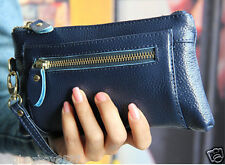 Lady's Real Leather Wallets Navy Blue Cellphone Purse Cellphone Pocket Handbag