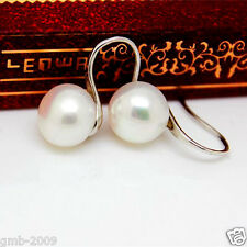 Genuine Natural 7-8mm White Akoya Freshwater Pearl Silver Dangle Earrings