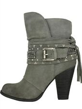 Naughty Monkey Santa Anna Harness Grey Leather Studded Boots 6.5 Retails $125.00
