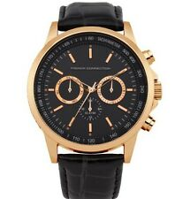 French Connection Men's Gold Black Leather Chronograph Watch FC1146BG
