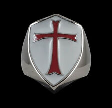 Stainless Steel Crusader Cross Knights Templar Ring-Any Size-Inc Ship