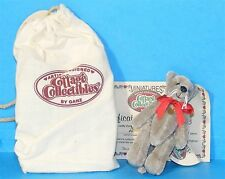 COTTAGE COLLECTIBLES Miniatures by Ganz CHARLET Grey BEAR Whiskers Red Bow + COA