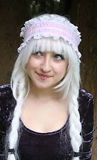 Gingham gothic lolita lace head band maid pastel bubblegum Loli goth GOBBOLINO