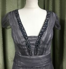BNWT Monsoon Grey Party Cocktail Dress With Netting And Sequins UK10