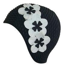 Fashy Femmes Noir Natation Hat - Bonnet De avec 3 Fleurs - Retro bain Cap