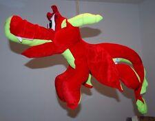 RARE JUMBO CLASSIC TOY CO SOAR RED LIME GREEN PLUSH DRAGON RI STUFFED ANIMAL