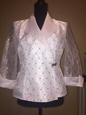 *** $6K CHANEL EVENING WEDDING COCKTAIL COUTURE RUNWAY CRYSTAL WHITE JACKET ***