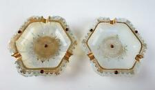 PAIR Vintage ITALIAN Czech JEWELED OPALESCENT GLASS ASHTRAY Murano Bohemian Gold