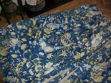 "PAIR  62""L country house curtains Charles Hammond blue vintage floral  gc"