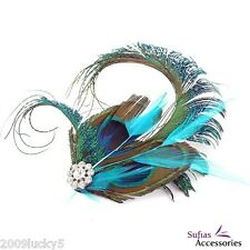 Peacock Feather Fascinator Hair Clip Slide Vintage Races 1920s Silver Blue Green