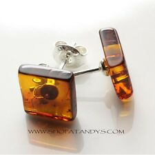 GENUINE COGNAC BALTIC AMBER 925 STERLING SILVER STUD EARRINGS