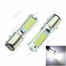 2X White COB LED Motor Bike/Moped/ATV Headlight Bulb Fog Light DRL BA20D H6 E301