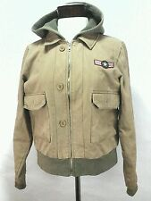 ROXY Bomber Flight Jacket Hoodie Coat Military Beige Brown Womens size Large L