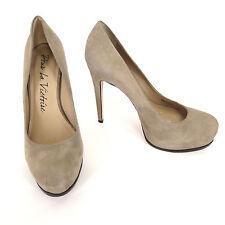 Pour La Victoire 7 Irina Taupe Suede Stiletto Heels Womens Dress Platform Shoes