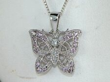 """Sterling Silver .925 Pink & White CZ-.25 tcw Butterfly Pendant Necklace -18"""""""
