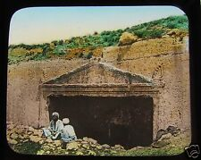 Glass Magic Lantern Slide ANCIENT TOMB POSSIBLY IN ISRAEL C1890