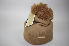 NWT MICHEAL KORS Women's Camel Top Pom Chain Knit LOGO Winter Hat One Size