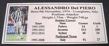 Soccer ALESSANDRO Del PIERO Silver  Sublimated Plaque