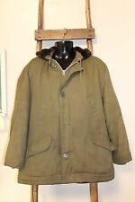 MEN'S~Vintage~PARKA Brand~GREEN~Coat~QUILTED & INSULATED~Fuzzy HOOD~LARGE~Warm!