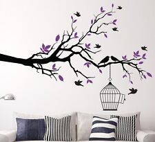Asmi Collections Pvc Wall Stickers Black Branches Purple Leaves and Birds