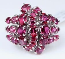 RETRO Vintage ART Deco 14K White Gold STUNNING Ruby Cluster Ring 7 Carats Total