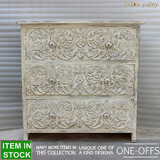 Carved hard wood timber chest of drawers dresser tallboy drawer whitewash 90cm