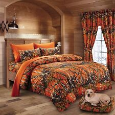 4 PC THE WOODS ORANGE CAMO COMFORTER AND SHEET SET TWIN SIZE BEDDING CAMOUFLAGE