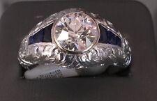 1920s Antique Art Deco Platinum 2.29ct Diamond Sapphire Men's Ring Sz12 Filigree