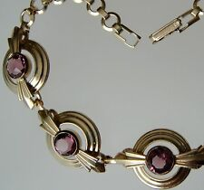 Art Deco Signed Simmons Gold Filled Amethyst Purple Color Glass Paste Bracelet