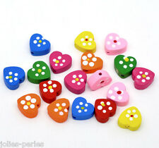 100 Mixed Multicolor Cute Heart Wood Beads 14x13mm