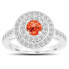Orange Sapphire Engagement Ring 14K White Gold Double Halo 1.19 Carat Pave
